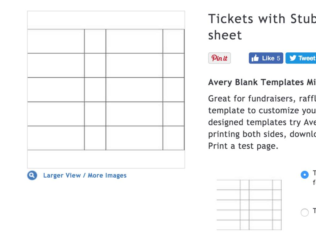 Raffle Ticket Template Avery