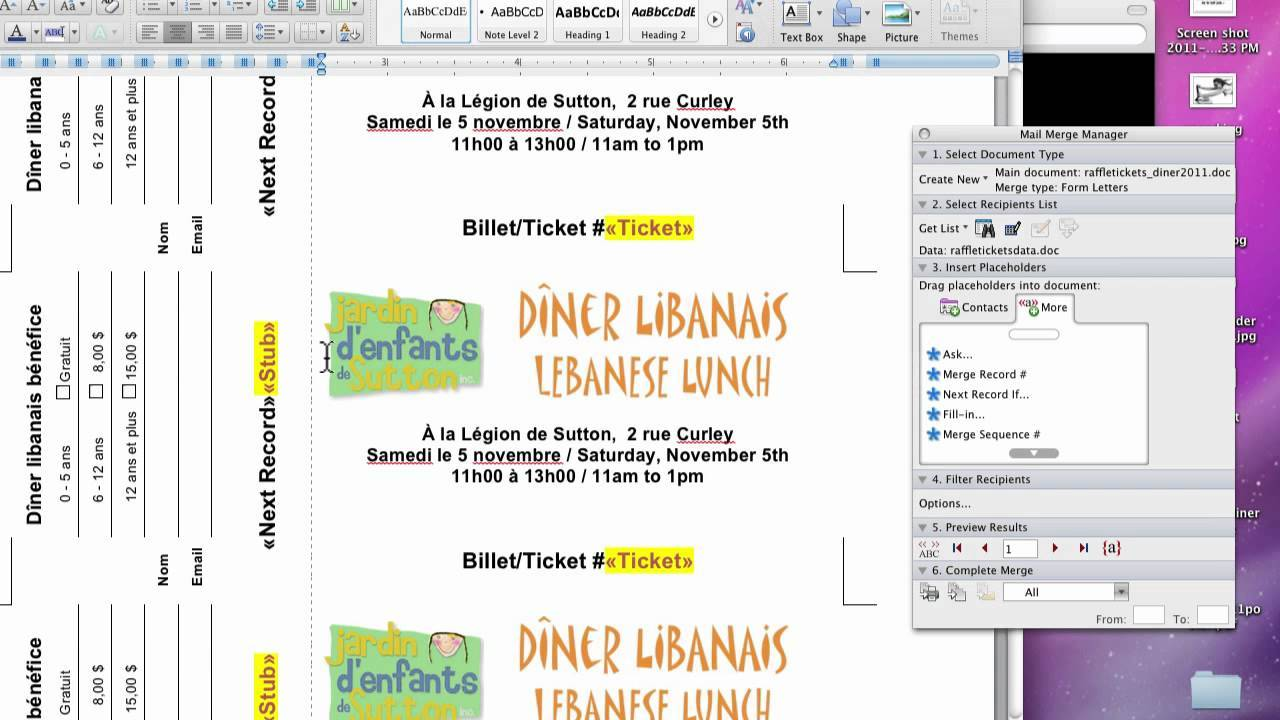 Raffle Ticket Template Microsoft Word 2007