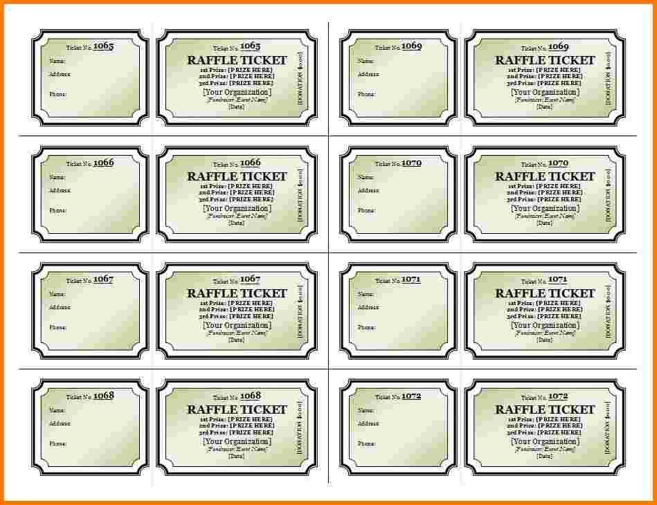 Raffle Ticket Template Print