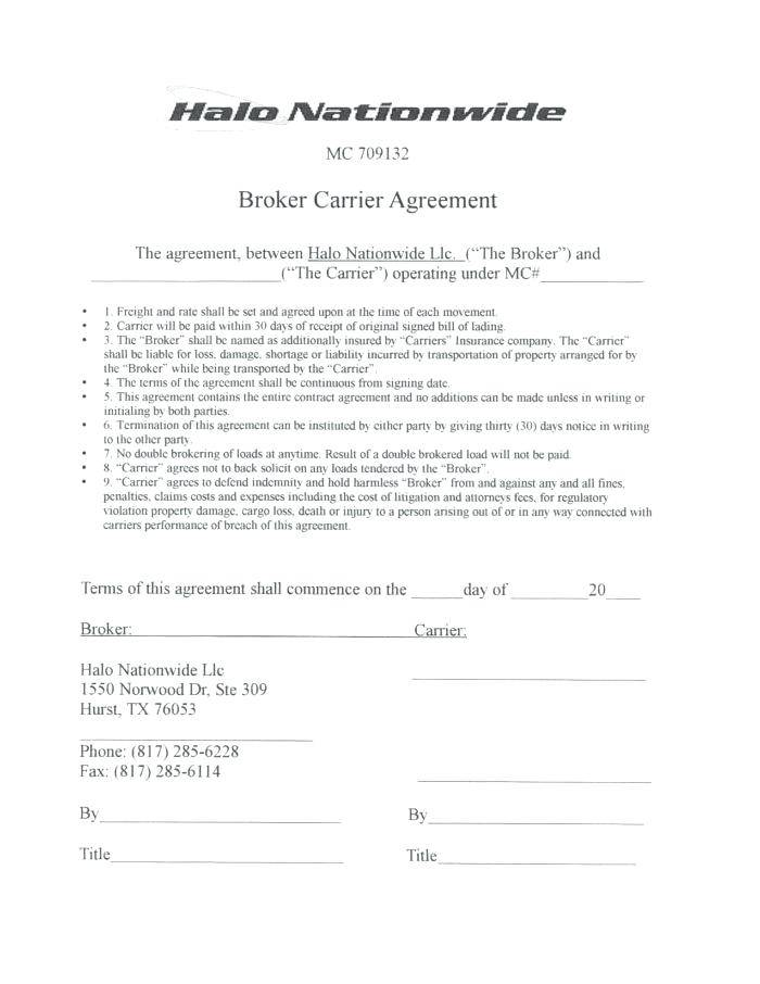Real Estate Broker Agent Agreement Form