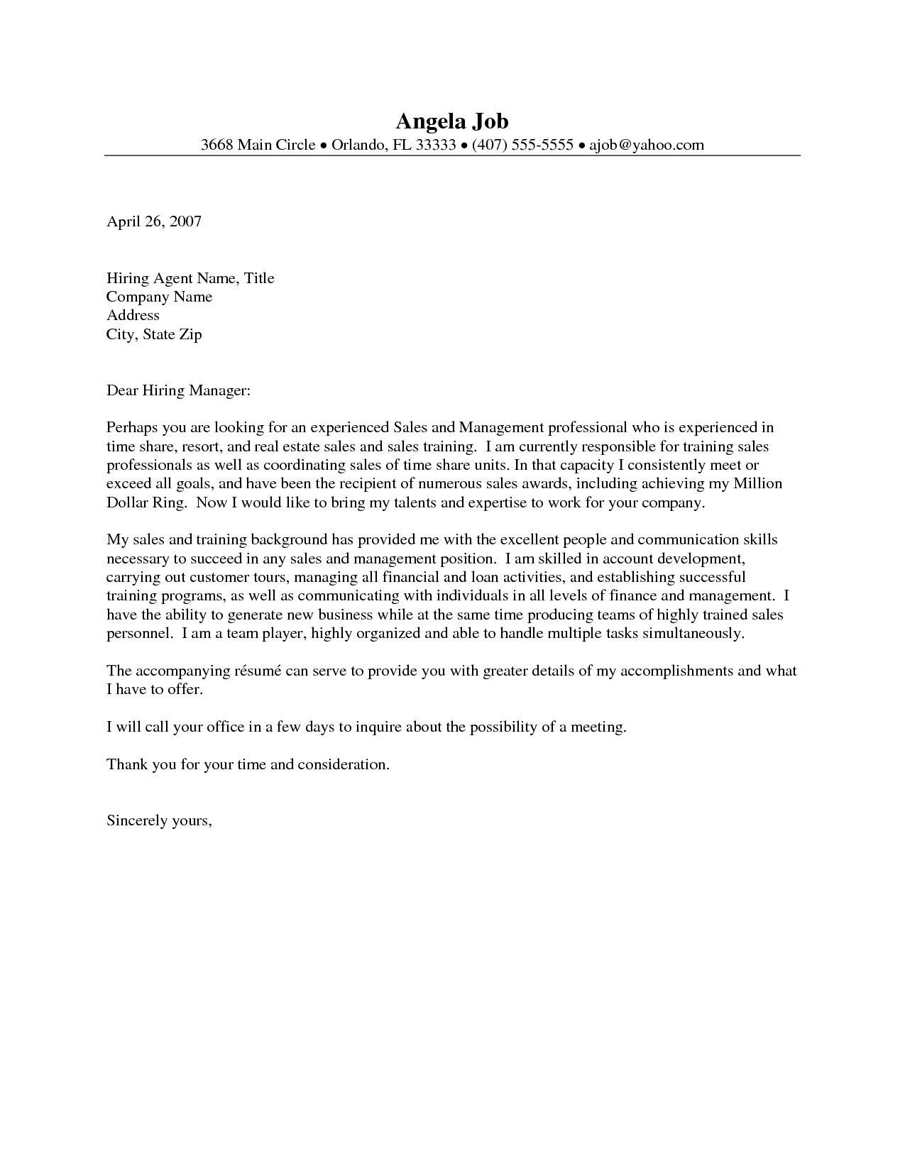 Real Estate Cover Letter Template