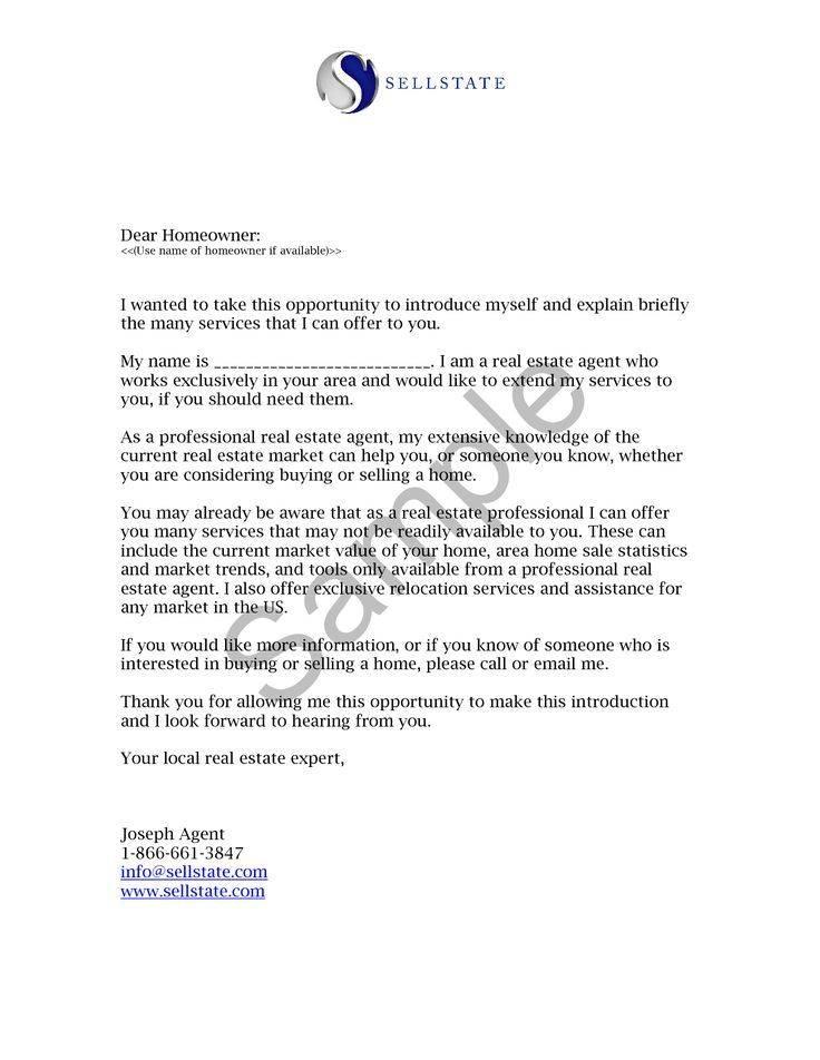 Real Estate Letters Samples