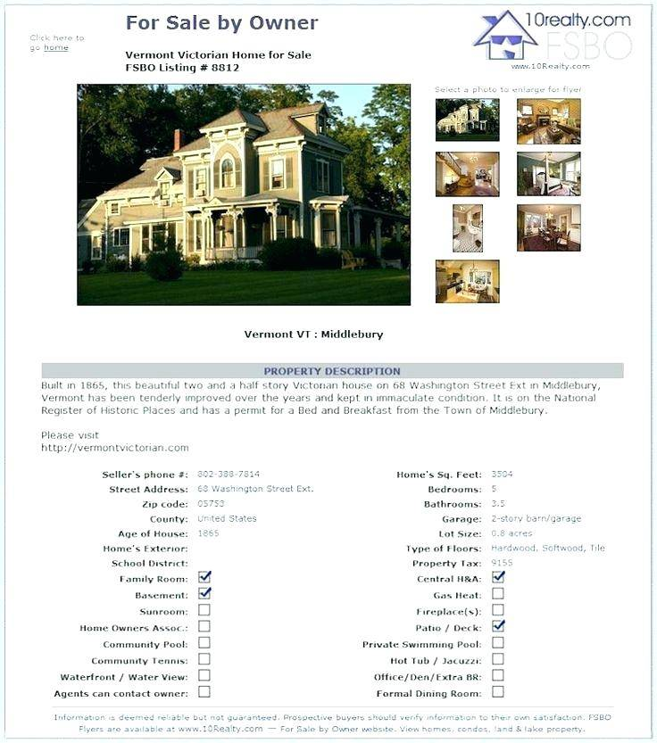 Real Estate Listing Sheet Template Free