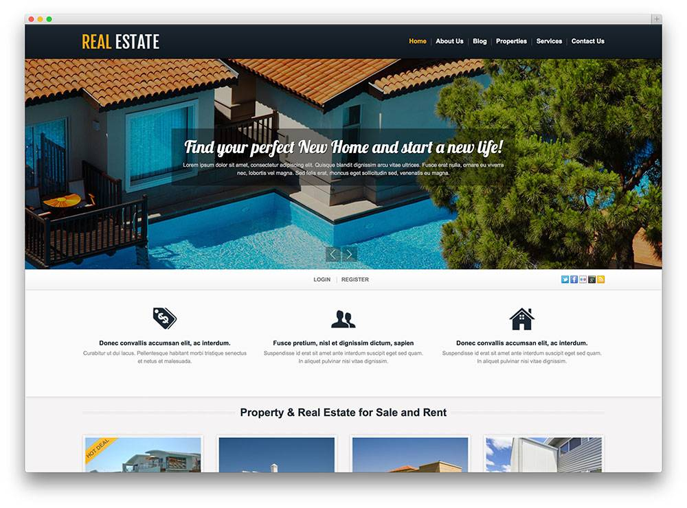 Real Estate Listing Template Website