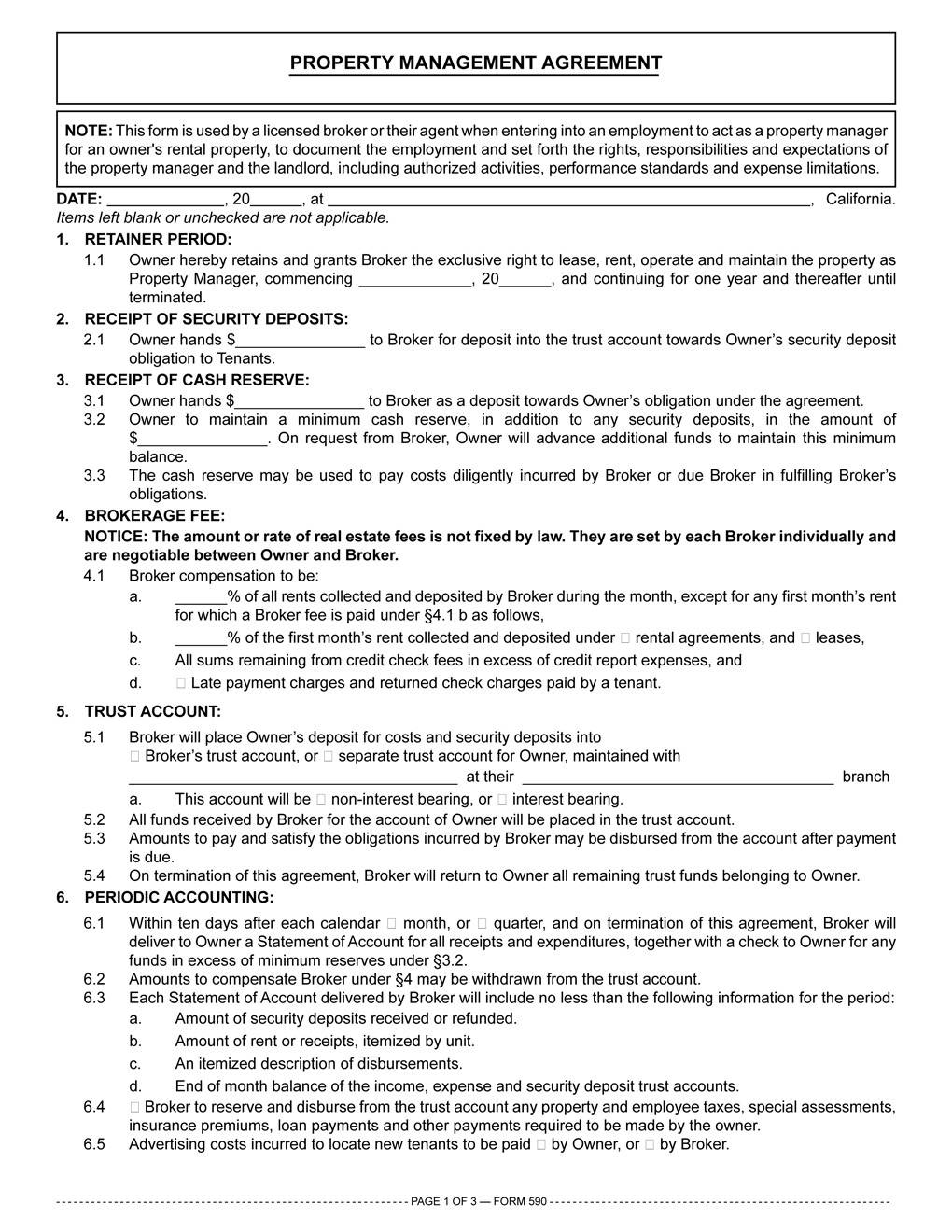 Real Estate Management Agreement Template