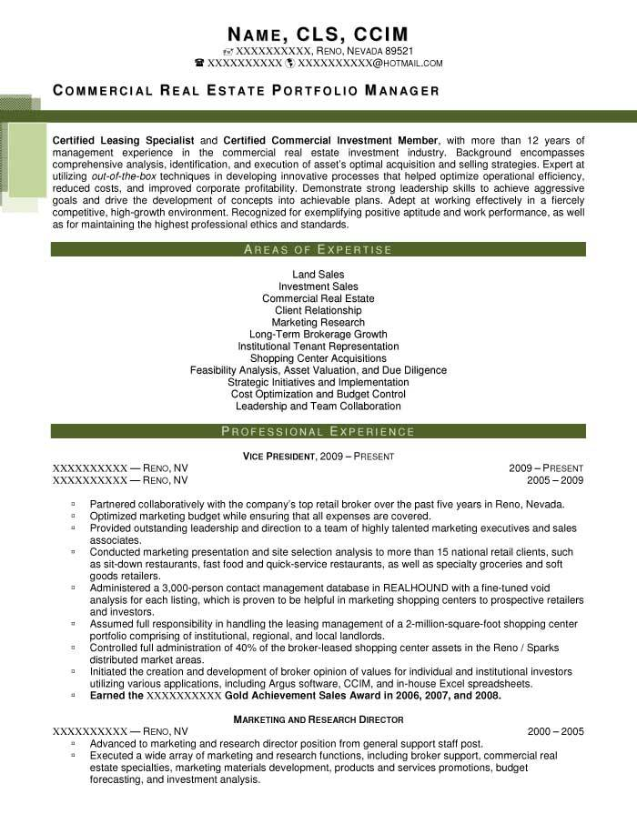 Real Estate Manager Resume Template