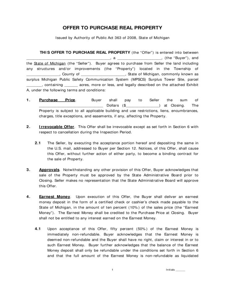 Real Estate Purchase Agreement Template Michigan