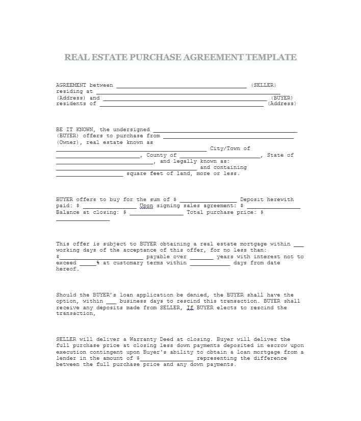 Real Estate Purchase Agreement Template Nc