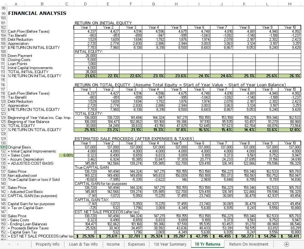 Real Estate Rental Spreadsheet Template