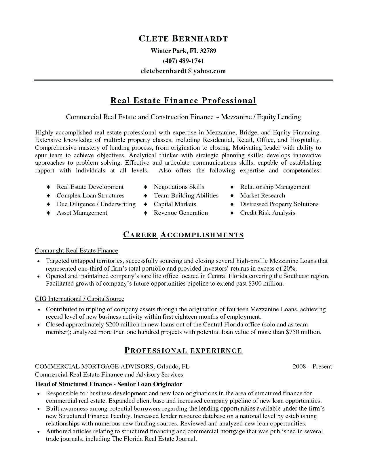 Real Estate Resume Templates