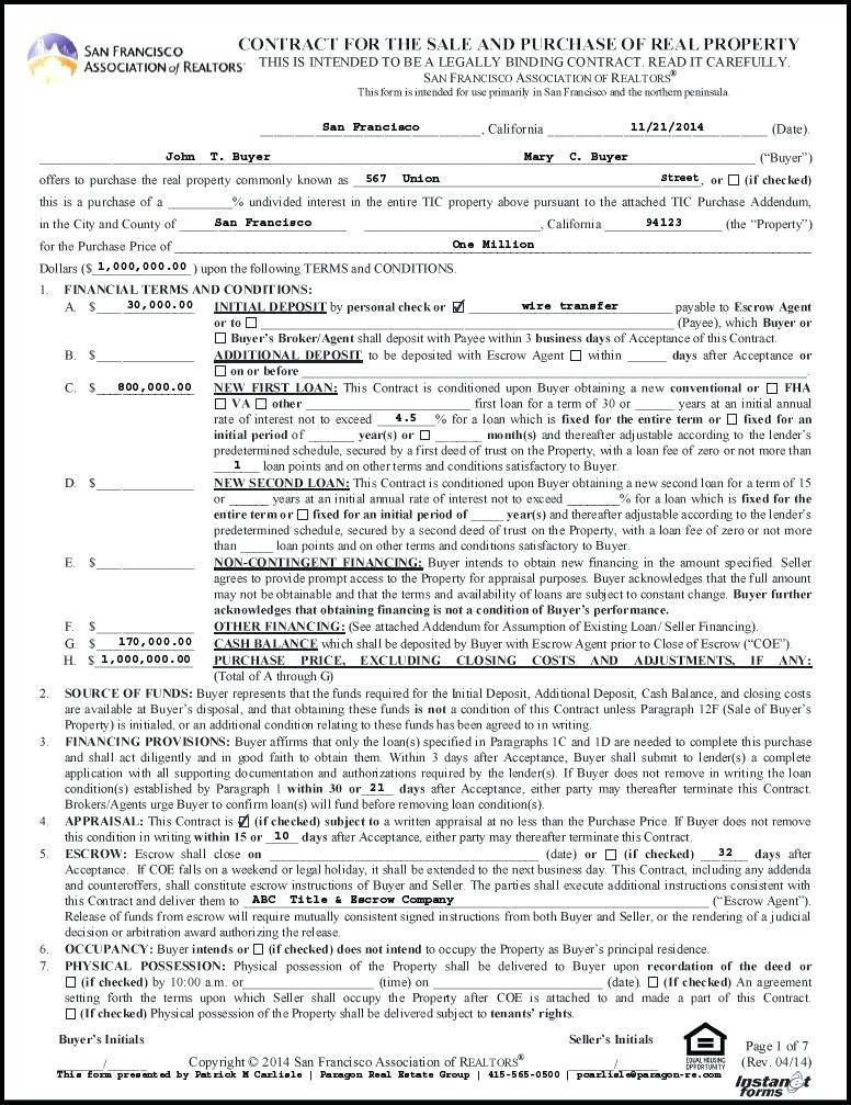 Real Estate Sales Contract Form Ohio
