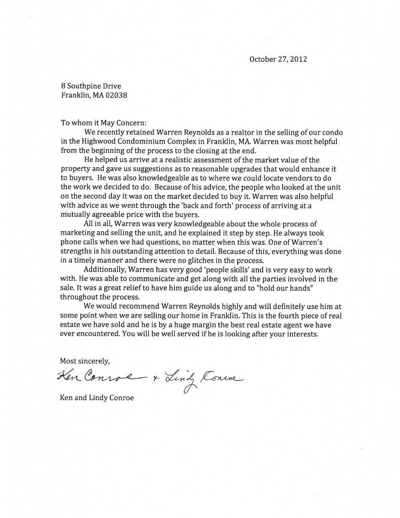 Real Estate Testimonial Letters Examples