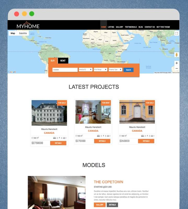 Real Estate WordPress Theme Myhome