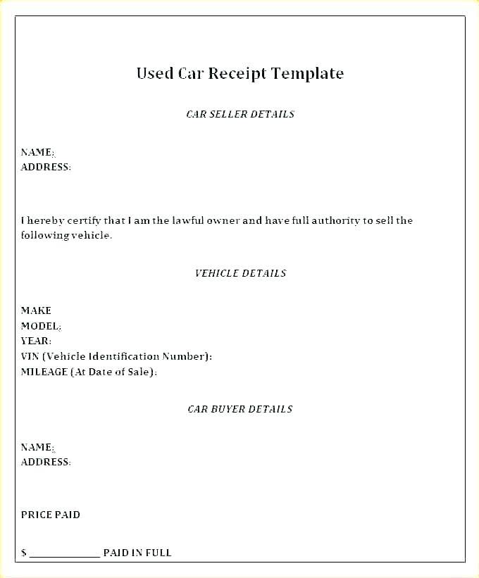 Receipt For Car Sale Word Template