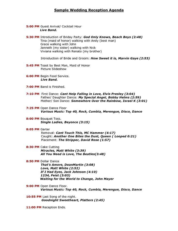 Reception Agenda Template