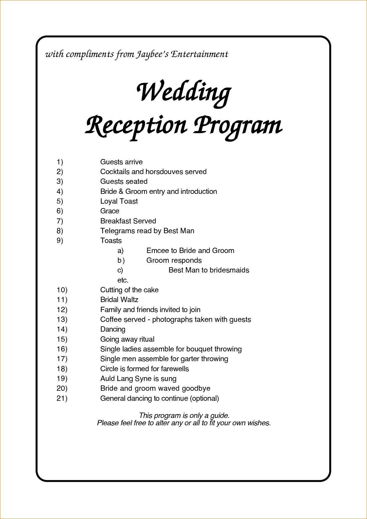 Reception Program Template Free