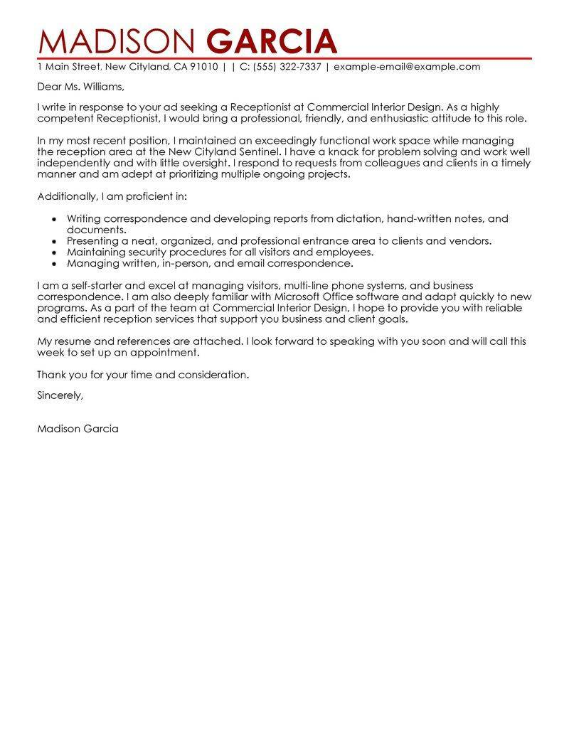 Receptionist Cover Letter Templates Free