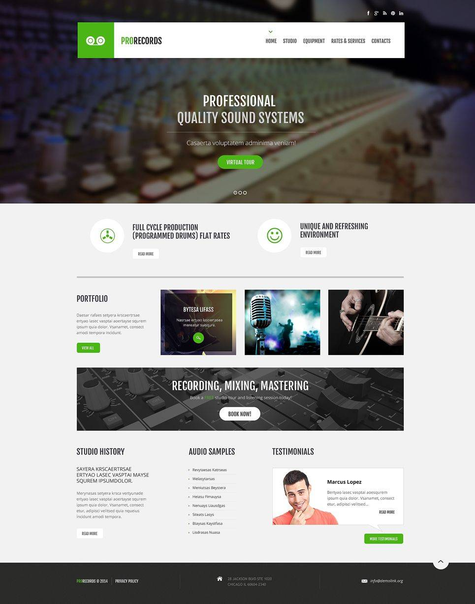 Recording Studio Responsive Website Template