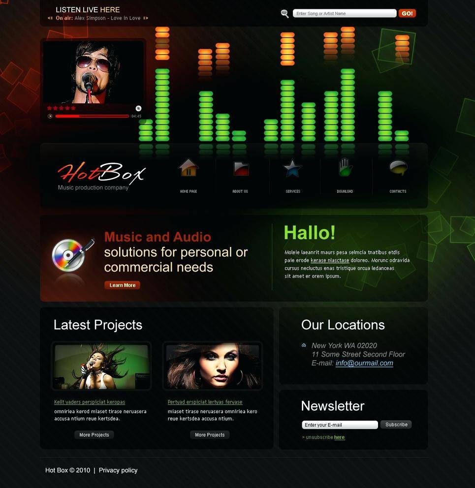 Recording Studio Website Templates Free Download
