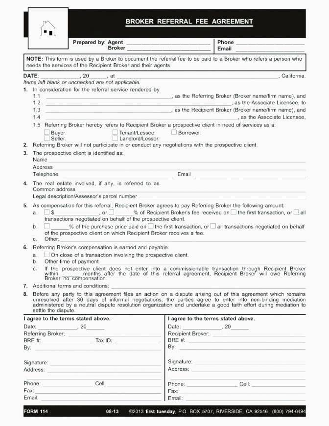 Referral Fee Agreement Template Doc