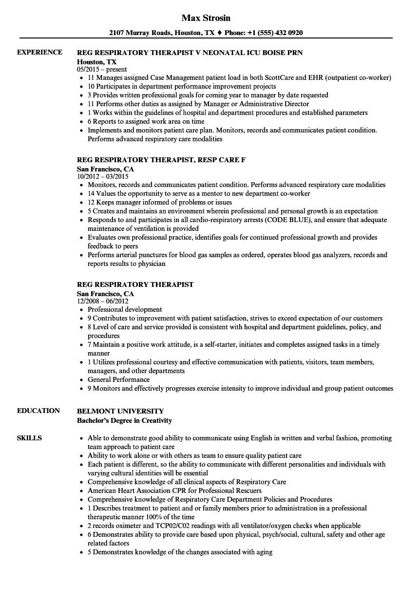 Registered Respiratory Therapist Resume Examples