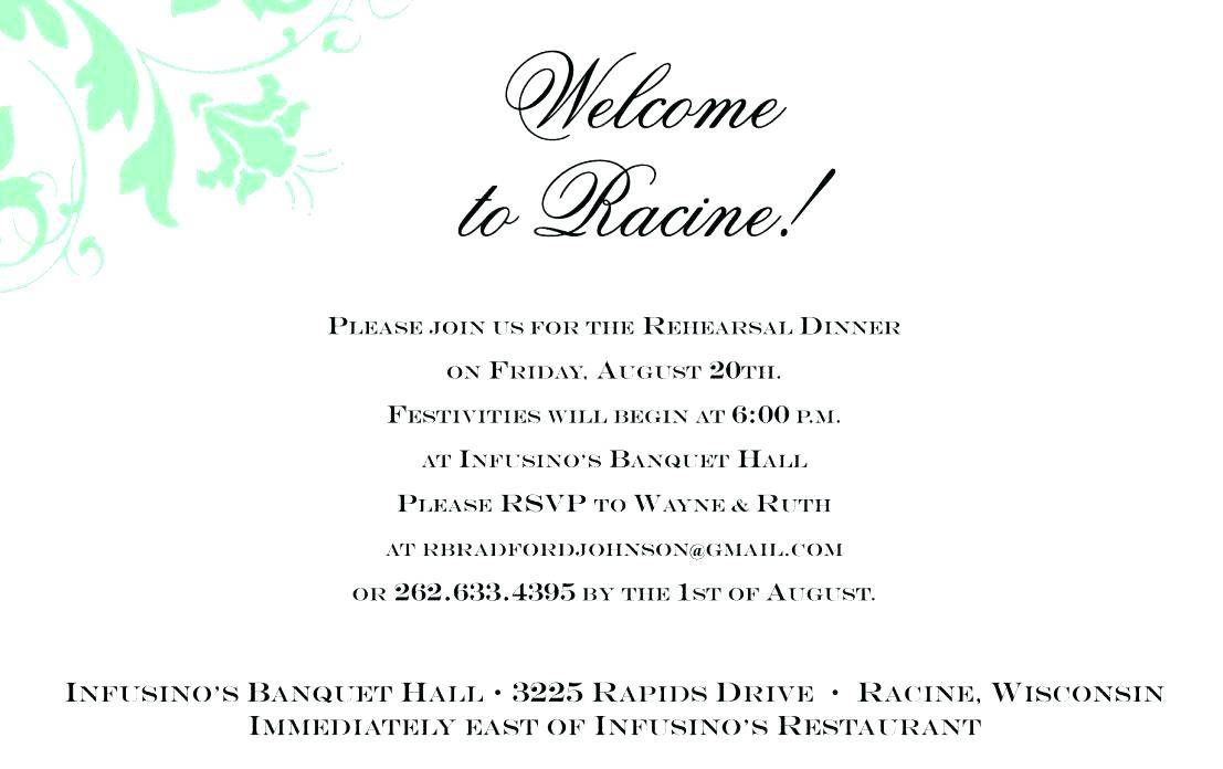 Rehearsal Dinner Invitation Wording With Church
