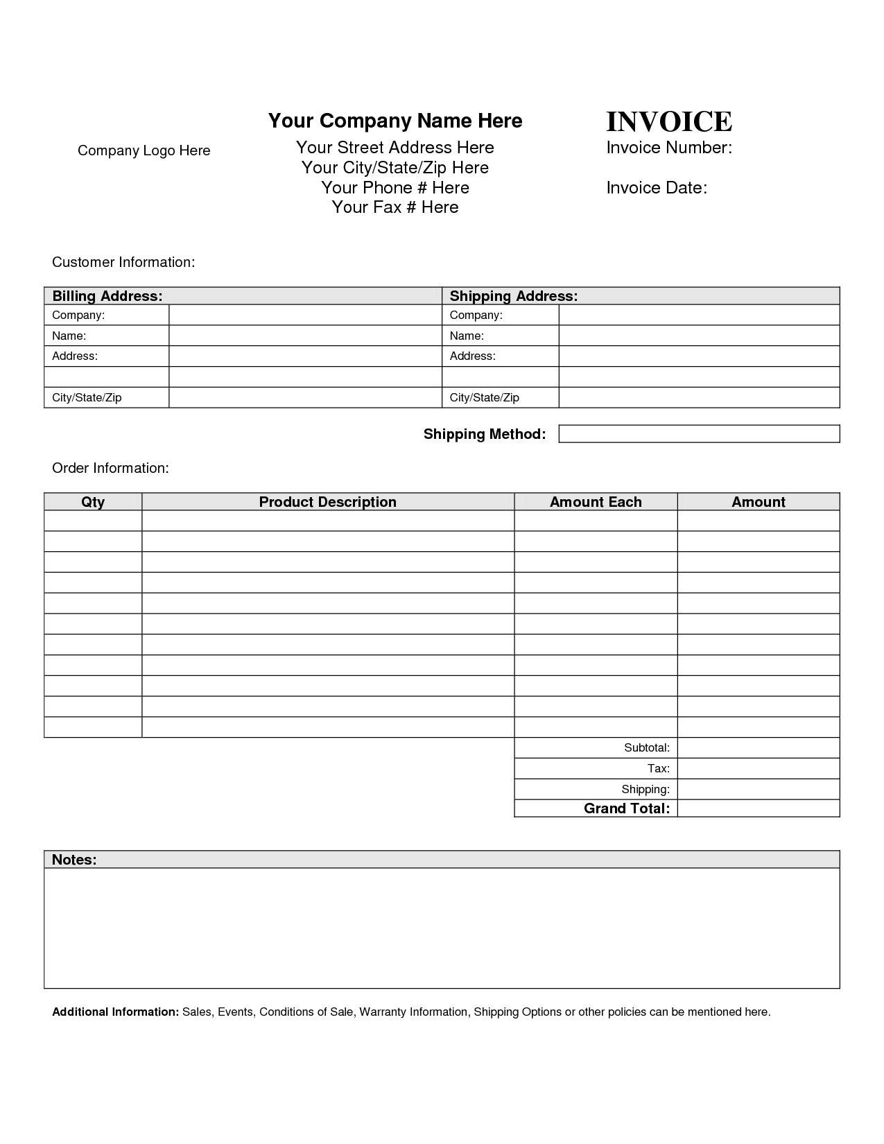 Reimbursement Invoice Template