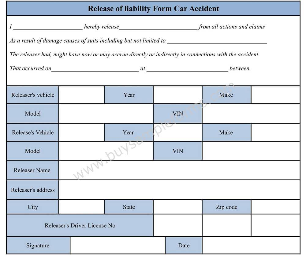 Release Of Accident Liability Form Template