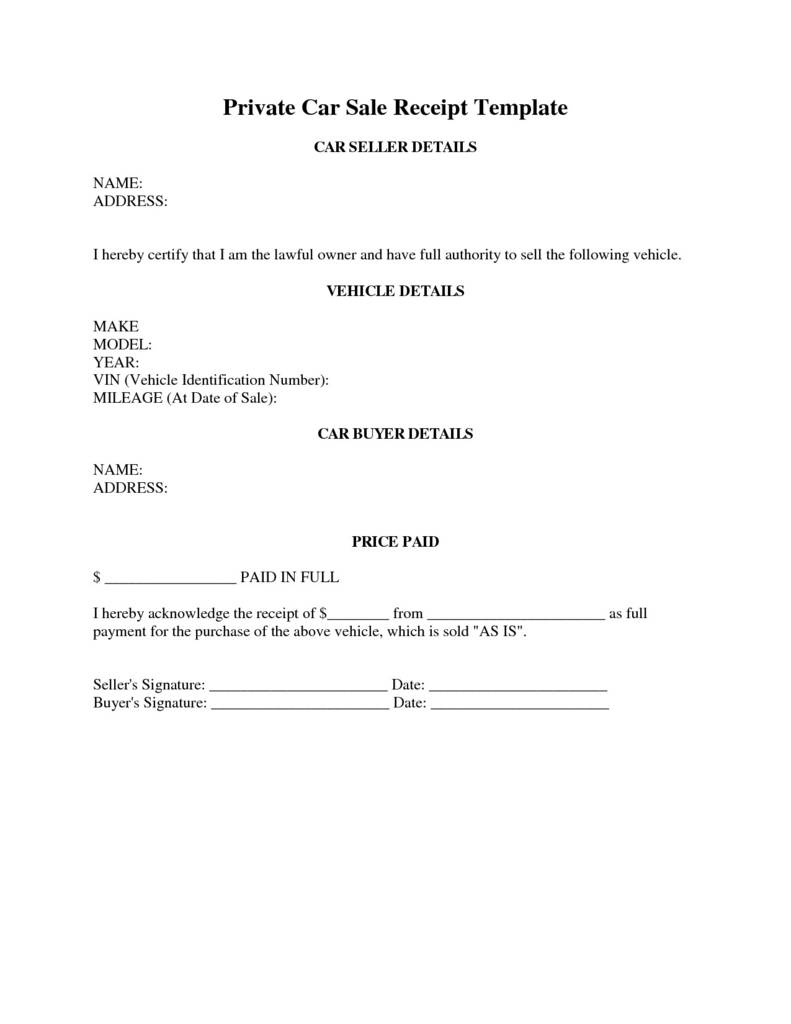 Release Of Liability Form Car Sale Template Pdf