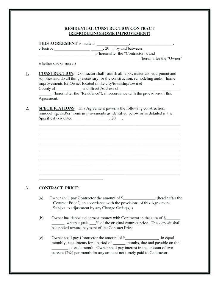 Remodel Contract Template Free