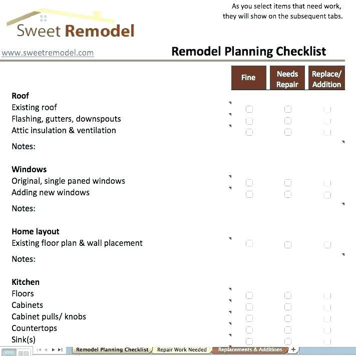 Remodel Schedule Template