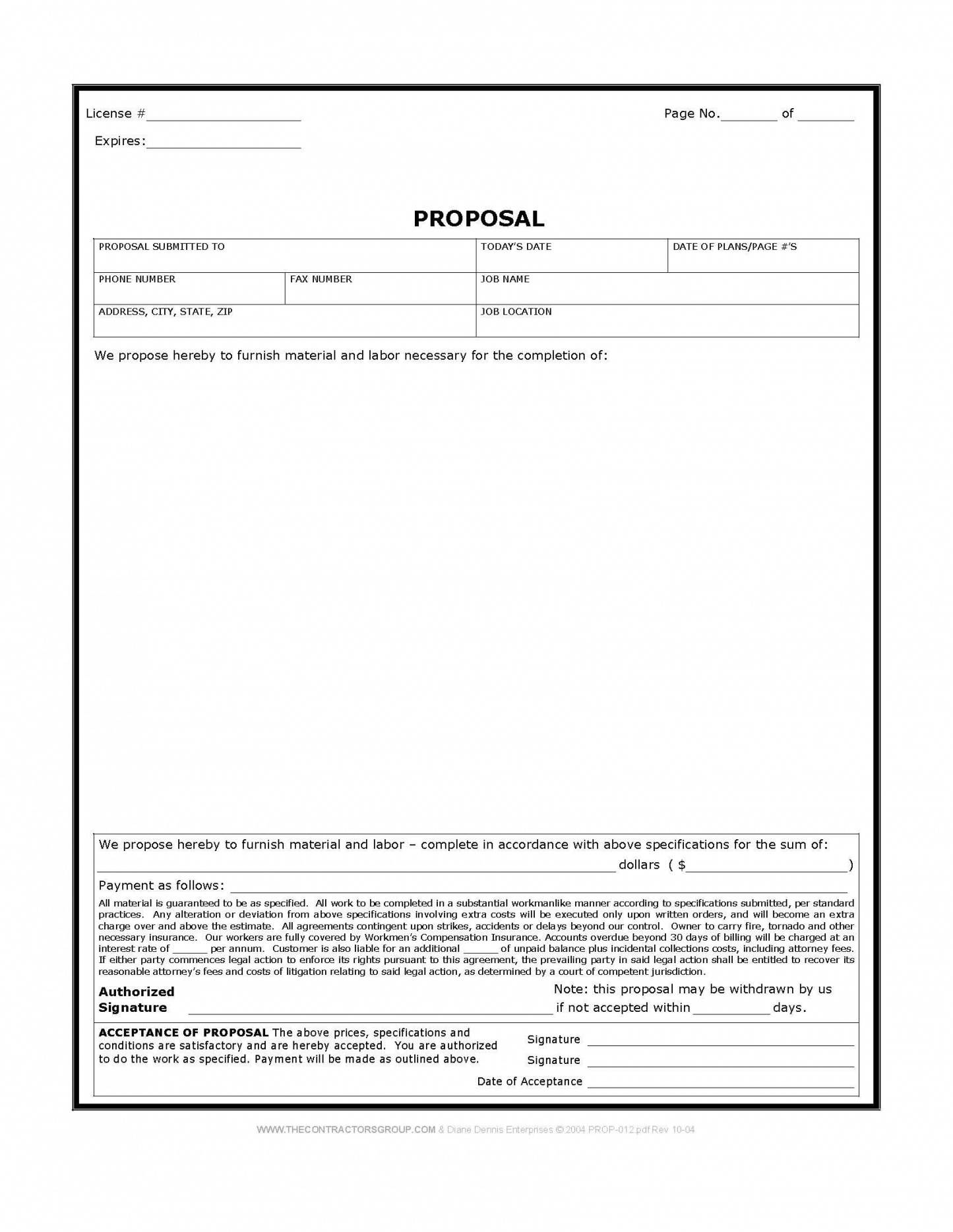Remodeling Proposal Template Free