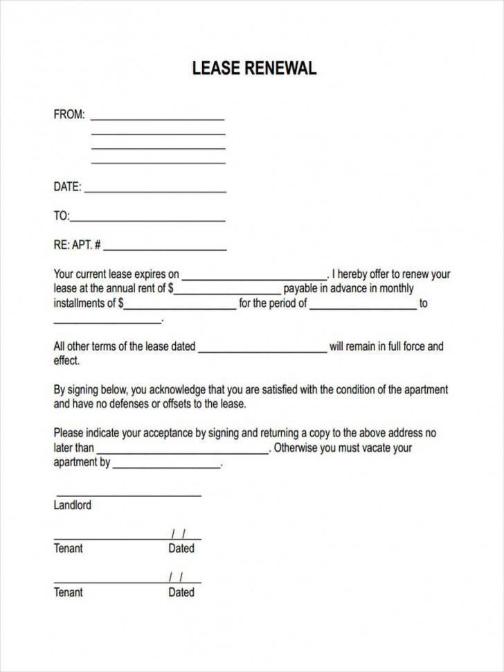 Renewal Rental Lease Agreement Form