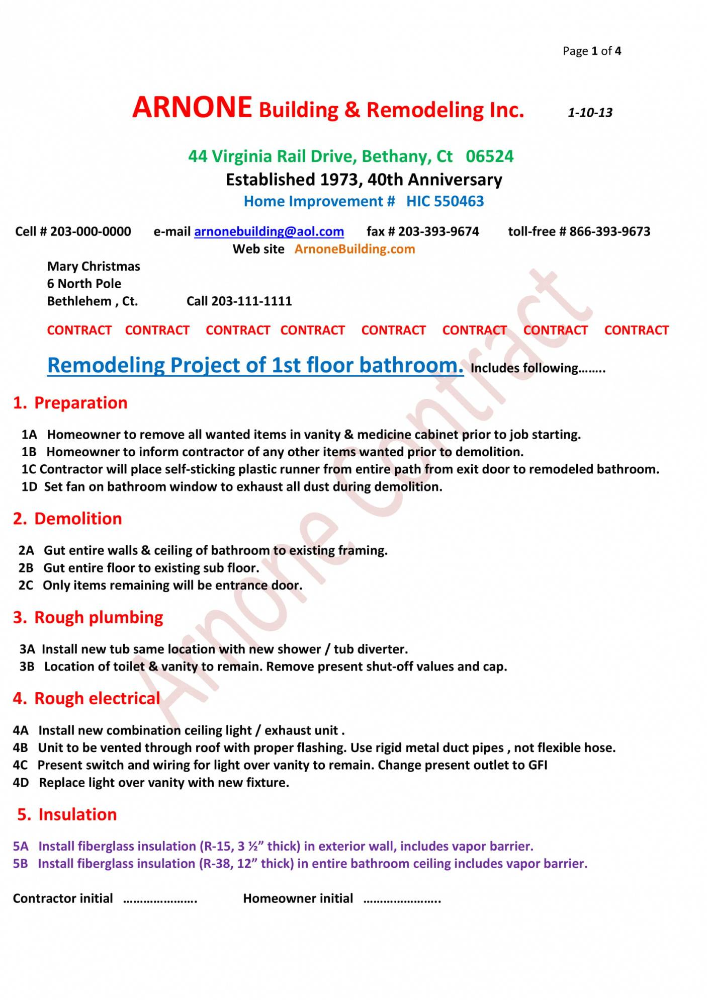 Renovation Contract Template Pdf
