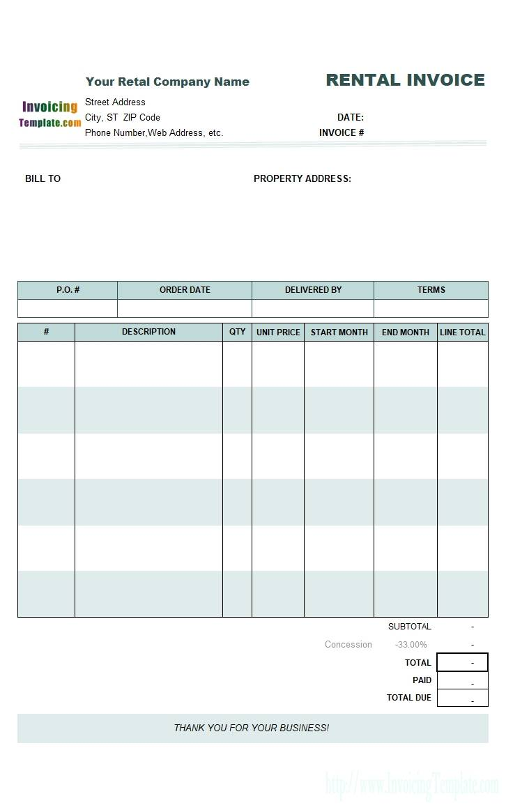 Rent Car Invoice Template