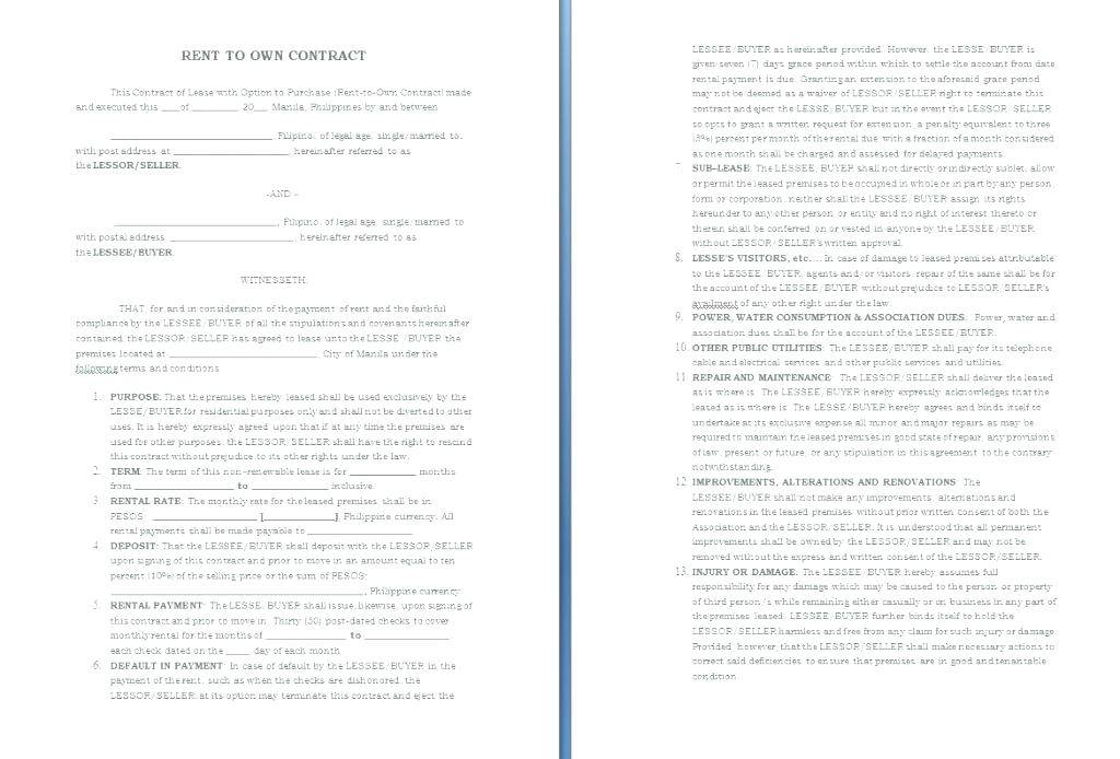 Rent Contract Sample Word