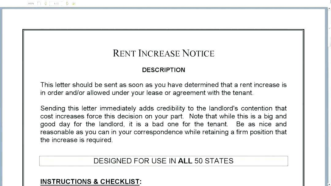 Rent Increase Letter Alberta Template