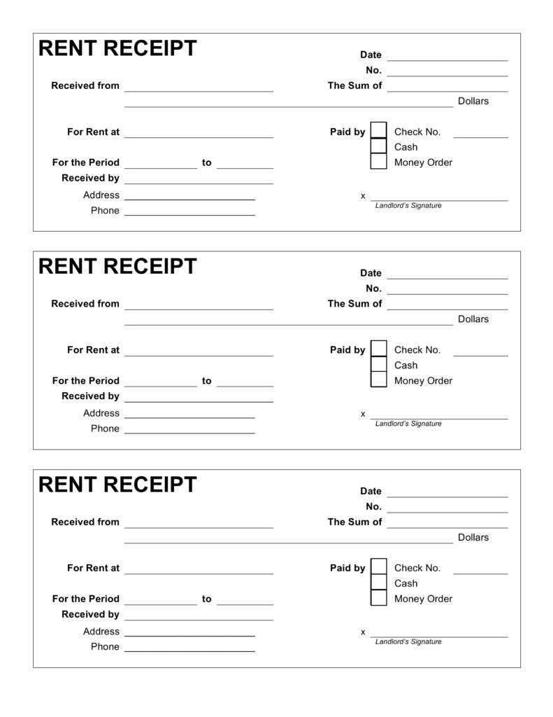 Rent Receipt Example