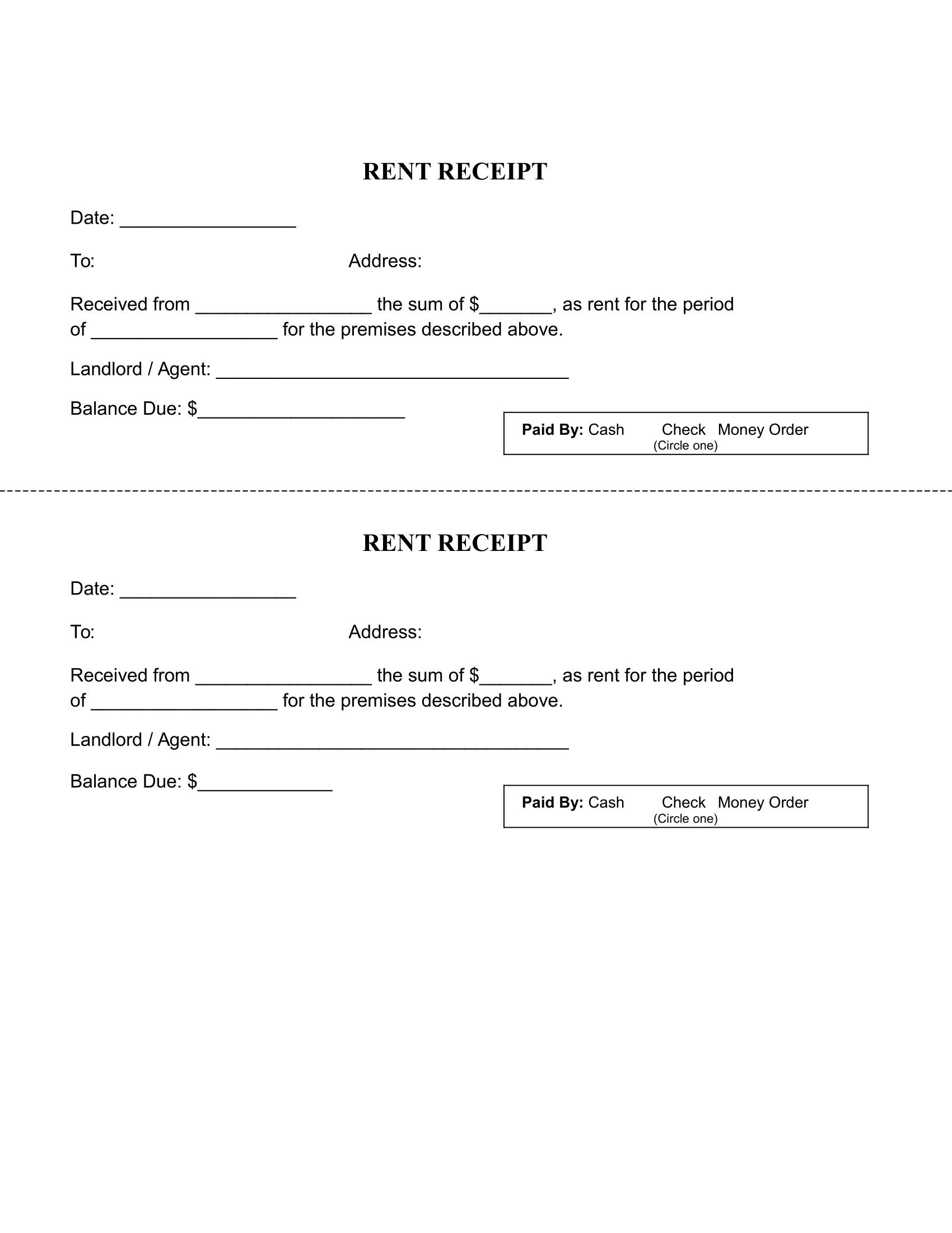 Rent Receipt Sample