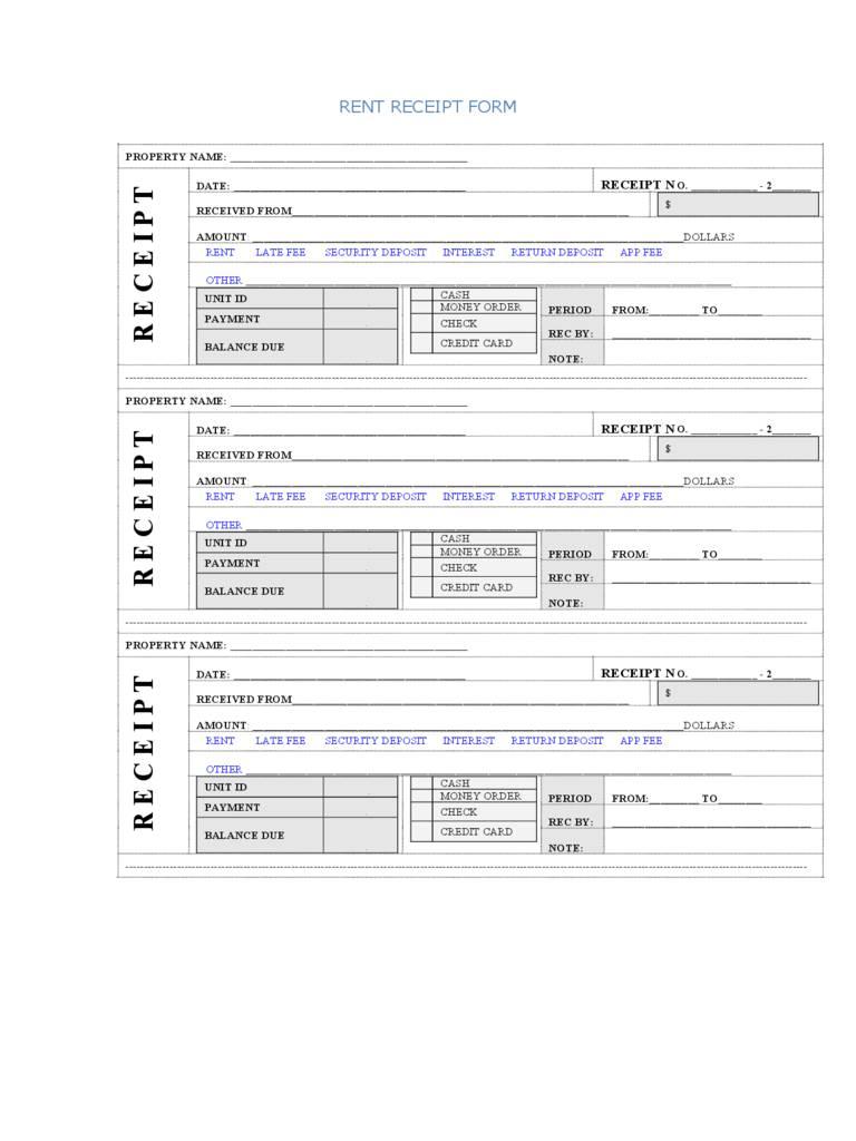 Rent Receipt Template Excel Format