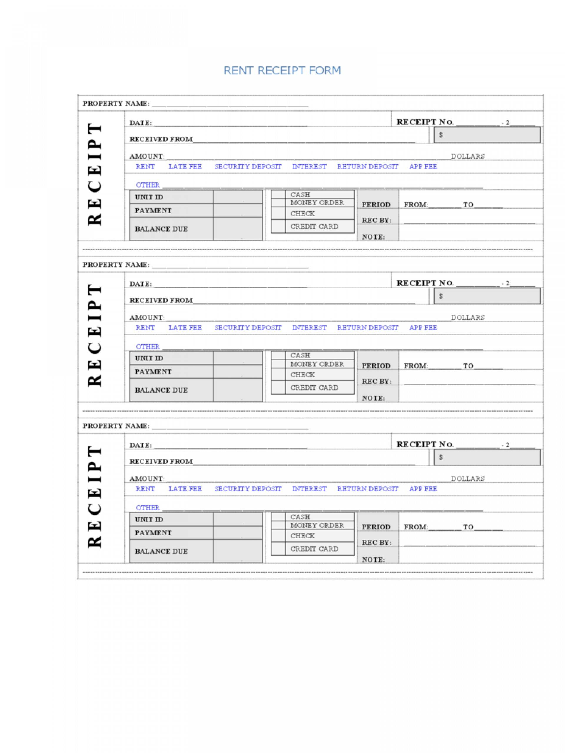 Rent Receipt Template Excel Free
