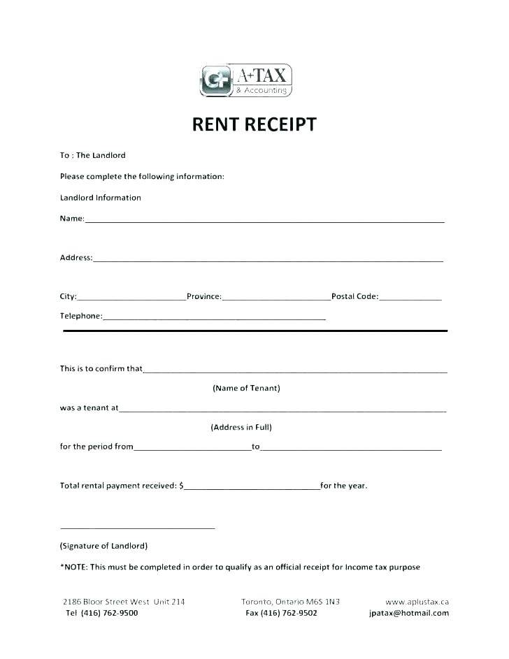 Rent Receipt Template Ontario Free