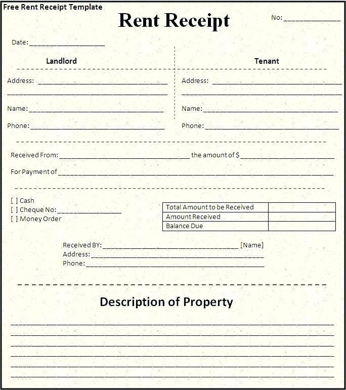 Rent Receipts Format India Pdf
