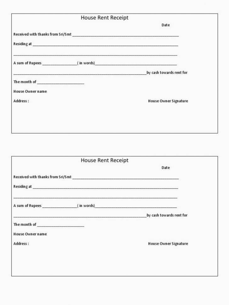 Rent Receipts Format