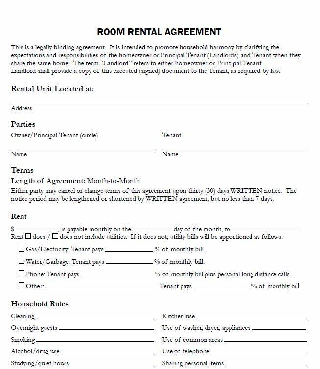 Rent Room Lease Agreement Template
