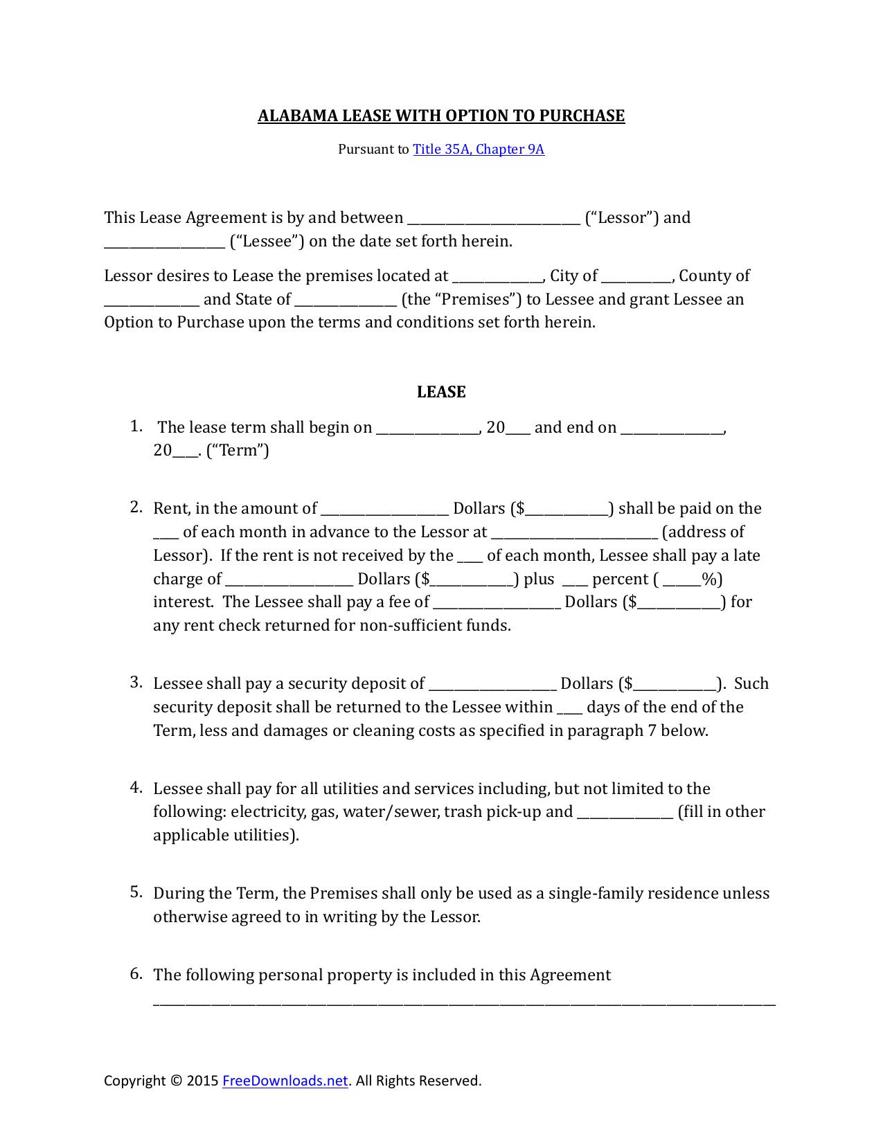 Rent To Own Contract Template Alabama