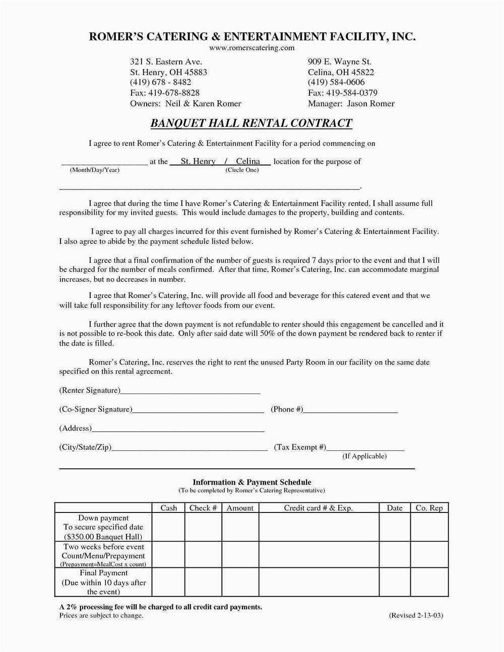 Rental Agreement Contract Example