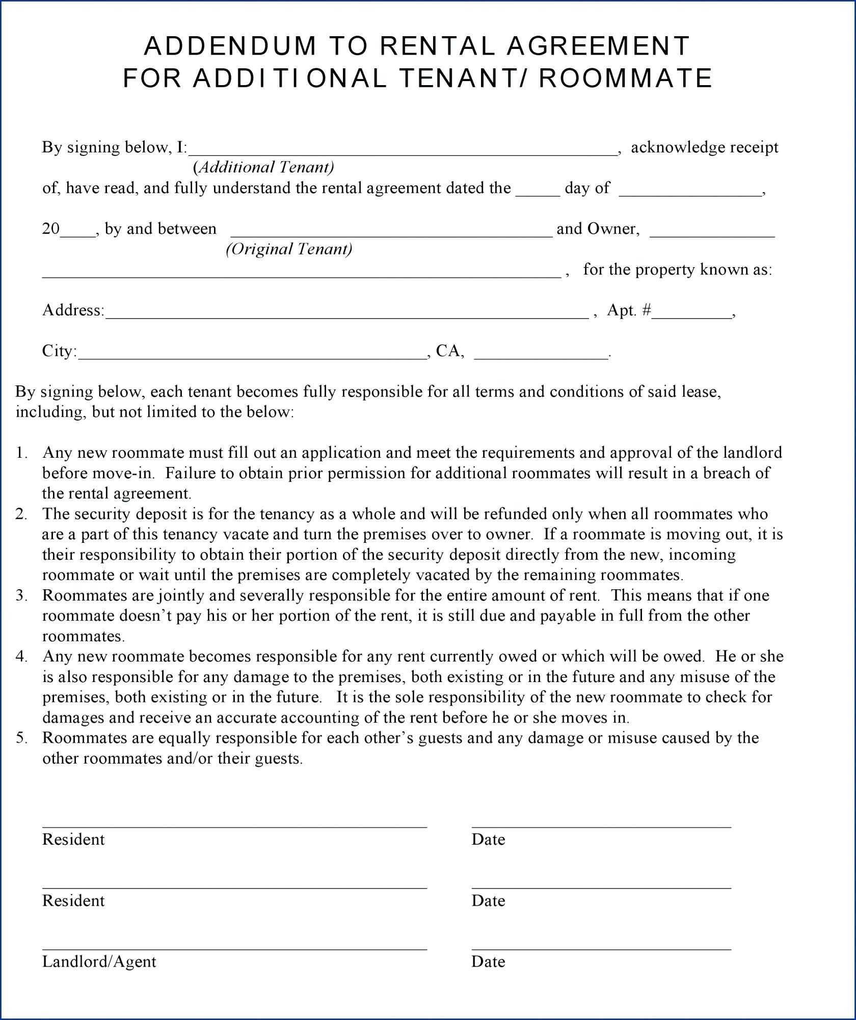 Rental Agreement Pet Addendum Template