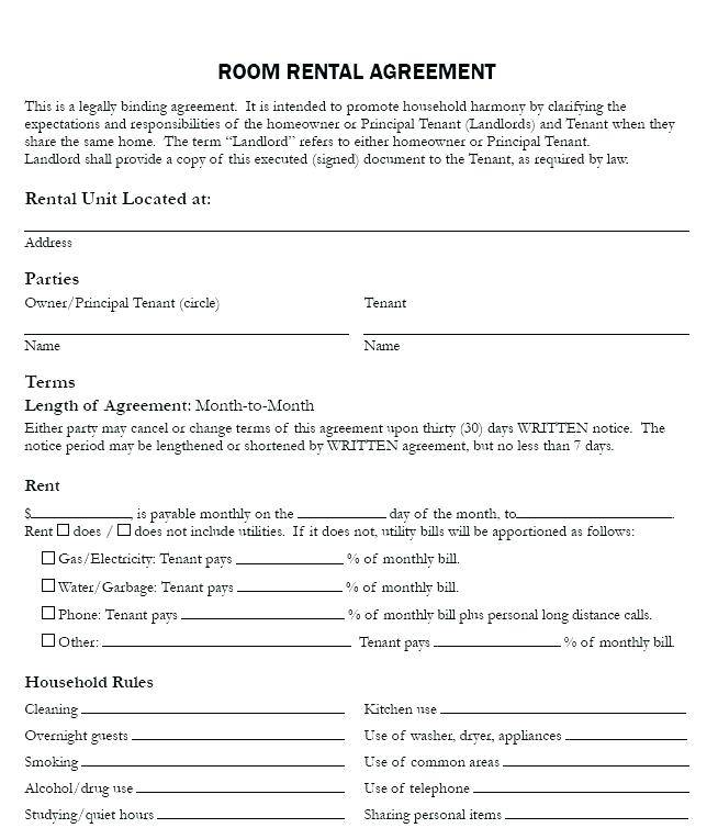 Rental Agreement Template For Renting A Room