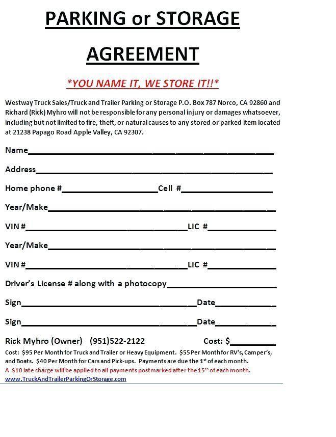 Rental Agreement Template Garage